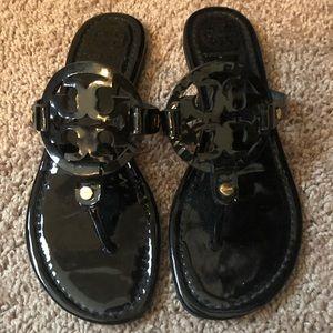 Tory Burch Miller Sandals Size 7 Black Patent